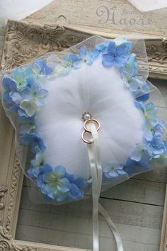 紫陽花のリングピロー ブルー