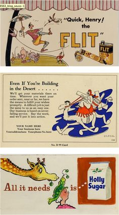 Ad illustrations by Dr. Seuss before he was known as Dr. Seuss.
