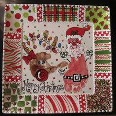 Handprint and footprint Christmas plate! Could use the basic idea... This one is too much and a little tacky.