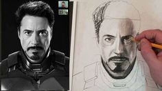 Drawing Realistic Skin How to Draw Iron Man Tony Stark Step by Step Charcoal and Fixative Tutorial; i have not watched this yet, it looks interesting - Male Face Drawing, Iron Man Drawing, Pencil Portrait Drawing, Watercolor Portrait Painting, Realistic Pencil Drawings, Guy Drawing, Drawing People, Art Drawings, Realistic Eye