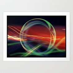 The Gate Abstract #scifi Art Prints #lights of #green, #Blue, Yellow, and #orange #stargate #tesla #coil #ring