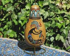 Southwestern Hand-painted Gourd with Stand 950 Kokopelli
