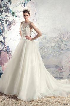 papilio 2016 bridal sleeveless sheer jewel neckline heavily embellished bodice princess a  line wedding dress lace back long train (1638l kiso) mv