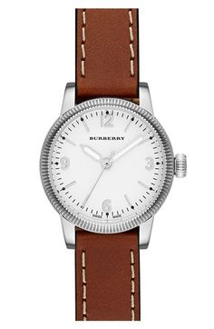 Burberry 'Utilitarian' Leather Strap Watch, 30mm Tan/ Silver One Size$495.00 - See more at: http://westcoastclothingco.com/womens/apparel-and-accessories/jewelry/watches/#burberry