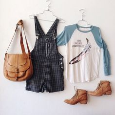 """WEBSTA @ charmschoolvintage - You know it's almost the weekend when you head straight for the overalls... No Excuses grey and white plaid cotton 90's overall shorts, 30"""" waist, 12"""" rise, 2.5"""" inseam $48 / The Velvet Underground 70's white and light blue raglan t-shirt with stars and stripes banana logo 34"""" bust, 18"""" sleeve length, 25"""" long, $148 / Patricia Nash purse $78 / Frye ankle boots, size 8B, $128 //To purchase, call the store 📞 at 512-524-0166 and pay over the phone or comment…"""