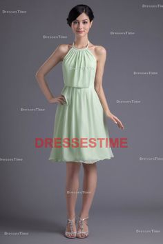 Mint green bridesmaid dress - Pretty short bridesmaid dress / simple chiffon bridesmaid dress / halter knee-length wedding guest dress on Etsy, $95.86 CAD