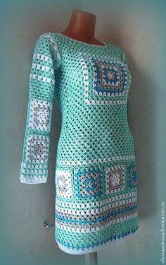 Купить Платье туника Арлекин - мятный, платье, туника, платье летнее, Платье осеннее