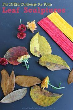 FALL STEM Challenge for Kids: Leaf Sculptures.