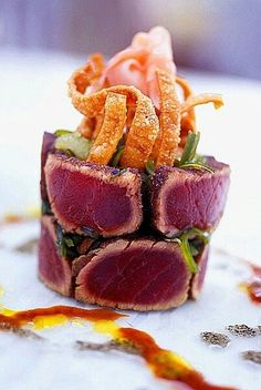 seared tuna stack