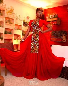 Ankara Photo of The Day: Yemi Alade's Red Ankara Print Gown for Shell's Make The Future Campaign in Rio de Janeiro, Brazil + Performance Video African Inspired Fashion, African Print Fashion, Africa Fashion, African Fashion Dresses, African Outfits, African Prints, African Attire, African Wear, African Dress