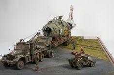 """""""An Inglorious End"""" Scratchbuilt 1/32 B-17 & 1/35 Diamond T wrecker. By Rich Carrick. #diorama #WW2"""