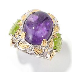 154-434 - Gems en Vogue Amethyst, Carved Peridot & White Sapphire Ring