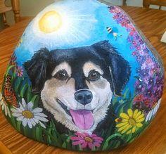 Custom Hand Painted Pet Dog Memorial Portrait Rock by CobbledArt