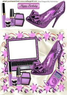 GLITTER PURPLE LAPTOP SHOES ACCESS 8X8 on Craftsuprint - Add To Basket!