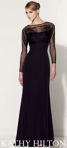 Crepe slim A-line gown with hand-beaded illusion long sleeves and bateau  neckline. 5ec98d383d2f