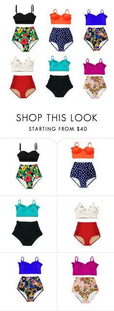 The set of 6 high waisted waist bikinis swimsuits bathing suits swimwear by venderstore on Polyvore