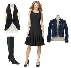 #VTLuxe for @QVC convertible loop with a Calvin Klein dress, Ellen Tracy Boots and Levi's denim jacket for a movie date