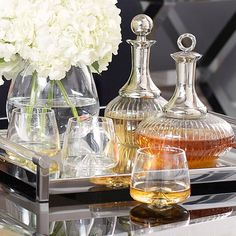This+fabulous+set+of+unusually+shaped+decanters+will+add+instant+glamour+and+Hollywood+style+to+your+home+drinks+cabinet. Decant+whiskey+and+port+for+stylish+after+dinner+drinks+to+entertain+guests. Please+note+tray+is+not+included. Tray Styling, Bar Cart Styling, After Dinner Drinks, Bar Tray, Drinks Tray, Home Bar Decor, Drinks Cabinet, Bars For Home, Decanter