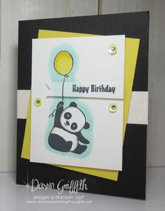 Hi Stampers, Happy Tuesday friends ! Here is a brand new stamp set from the upcoming Sale-a-Bration mini called Party Pandas I believe it's going to be a very popular stamp set with these sweet pandas all focused around Birthday's, But of course I can Dawns Stamping Thoughts, Stamping Up, Panda Birthday, Happy Birthday, Panda Party, Animal Cards, Happy Tuesday, Kids Cards, Stampin Up Cards