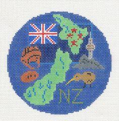 New Zealand handpainted Needlepoint Canvas Ornament by Silver Needle #HandPaintedNeedlepointCanvas