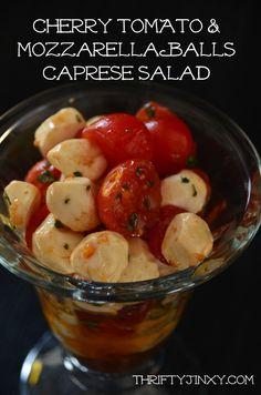 Cherry Tomato and Mozzarella Balls Caprese Salad Recipe - Thrifty Jinxy