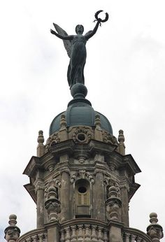 Detail of the beautiful tower of The Palacio del Centro Gallego. Havana, Cuba'