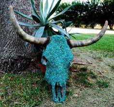 Cow/Longhorn Skull Turquoise by BumsteerStudios on Etsy