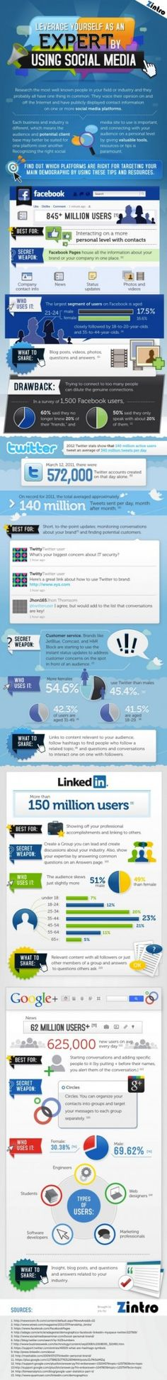 What is Facebook best for? How about Twitter, LinkedIn, Google ? This infographic has all you need to know to leverage social networks.