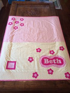 Back of baby girls quilt