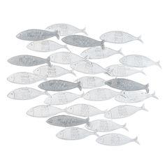 Adorno mural banco de peces de metal