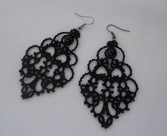 Ohrhänger - Schwarze Spitze Ohrringe, Occhi-Schmuck - ein Designerstück von miradeineka bei DaWanda