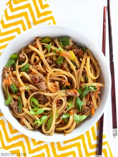 These everyday fast stir fry beef noodles are easy enough to make on a busy weeknight and delicious enough to keep you from calling for take-out. @budgetbytes