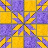 "Half Square Triangle Hunter's Star Tuturial. Handy calculator to modify block sizes and quilt sizes. Demo to make 9 Hunter's blocks to make 36""x36"" quilt with 12"" square blocks."