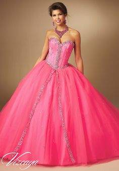 Mori Lee Vizcaya Quinceanera Dress Style 89043 is made for girls who want to look like a beautiful Princess on her Sweet 15. Made out of tulle, this ball gown features a gorgeous strapless sweetheart