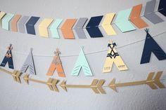 Set of 3 Tribal Garlands  Tribal Banners Arrow by SmithStudios2129