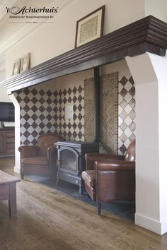 Cosy giant inglenook fireplace with woodburning stove in kitchen Dining Room Fireplace, Inglenook Fireplace, Stove Fireplace, Fireplace Mantels, Fireplace Ideas, Fireplaces, Old Stove, Dutch House, Facade House