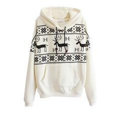 Christmas Mono Deer Print Long Sleeve Pocket Front Hoodie ($22) ❤ liked on Polyvore featuring tops, hoodies, outerwear, beautifulhalo, bhalo, pocket tops, hooded pullover, white hoodie, white top and white hooded sweatshirt