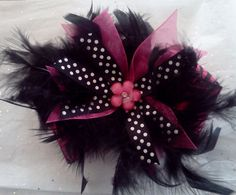 Black and Pink Boa Bowtique Bow by HodgePodgeBowtique on Etsy, $14.00