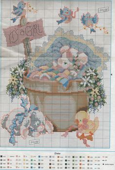 Blog con consejos y labores de ganchillo o crochet, punto, punto de cruz, patchwork. Colchas, ponchos, patucos, cuadros y mucho mas Cross Stitch Charts, Cross Stitch Patterns, Baby Chart, Stitch 2, Gift Baskets, Birth, Vintage World Maps, Free Pattern, Baby Quilts