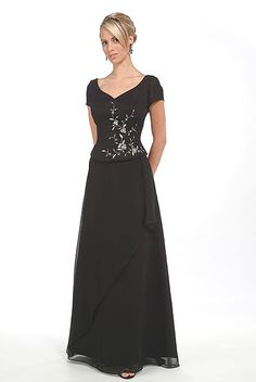 2015 V-neck Floor Length Black Short Sleeves Appliques Ruched Chiffon Mother of the Bride Dresses MBD0045