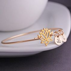 Gold Lotus Jewelry,  Lotus Flower Bangle Bracelet, Personalized Yoga Jewelry by georgiedesigns
