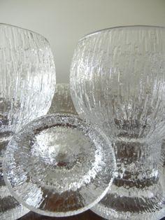 Vintage Ultima Thule Glasses Designed by Tapio Wirkkala Finnish Designer Circa 1970 Mid Century Modern.