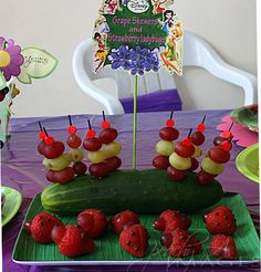Party Food: grapes and strawberries- sneaking fruits to balance all those chocolates and candies!