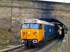 Bury Valiant Group former British Railways English Electric Type 4 Co-Co class 50 diesel-electric locomotive number 50015 Valiant passes under bridge 20 (Manchester Road) on the Down Main line at Bury on the East Lancashire Railway with the 12:00 Heywood to Rawtenstall. Saturday 19th April 2008