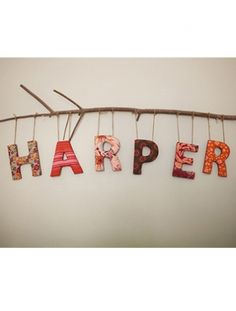 Pretty hanging letters for the #nursery    My husband & I are outdoor people, this name with the stick is perfect for us!