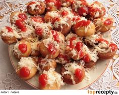 Langoše jednohubky Pizza Recipes, Finger Foods, Pasta Salad, Baked Potato, Potato Salad, Cauliflower, Shrimp, Appetizers, Meat