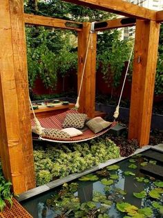 Wooden pergola with hammock bed and small pond, beautiful garden design ideas