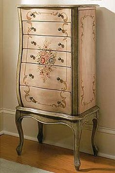 under-my-parapluie: Armoire with roses ☆ Hand Painted Furniture, Antique Furniture, French Country Furniture, Country French, French Style, Country Style, Do It Yourself Fashion, Jewelry Armoire, Jewelry Chest