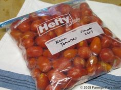 how to freeze tomatoes. i am going to try this this year with all the little ones i have.