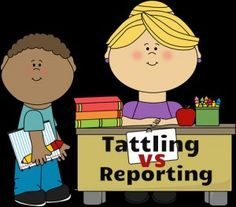 Great video lesson on teaching children the difference between tattling and reporting. Free resource! Graphics from www.mycutegraphics.com